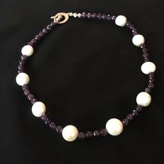 Chic Fresh Water Pearl With Purple Stones
