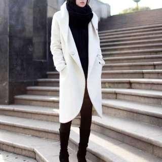 White Long Casual Wool Hooded Coat