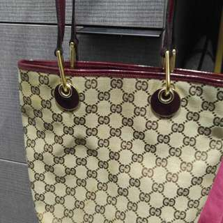 Authentic Small Gucci Burgundy Leather Trimmed Tote