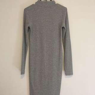 Grey, Long Sleeve, High Neck H&M Dress Size 10