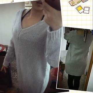 低胸長版針織洋裝 //香芋粉紫色