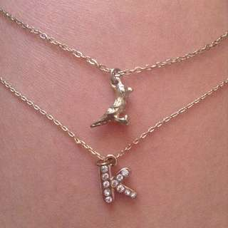 Gold K & Bird Necklace/Bracelet (FREE if you spend $30 or more!)