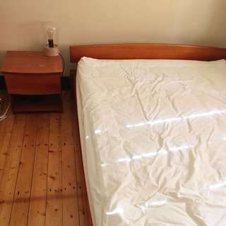 Wooden Queen Bed Frame W Mattress And Bedside Table