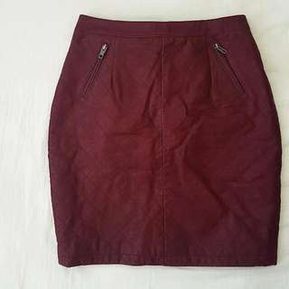 Maroon leather skirt