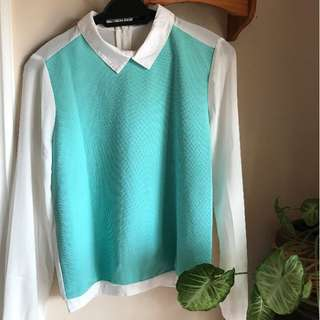 Seed Tiffany Blue Collared Contrast Shirt