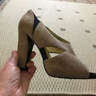 Leather Suede Open Toe Shoes