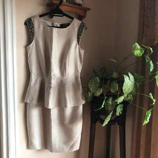 Dorothy Perkins Beige Formal Peplum Dress