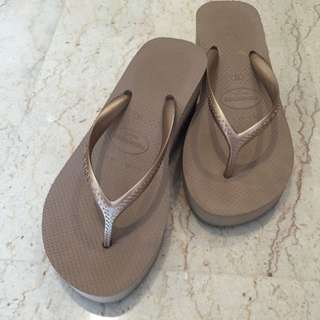 Havaianas Rose Gold Platform Slippers