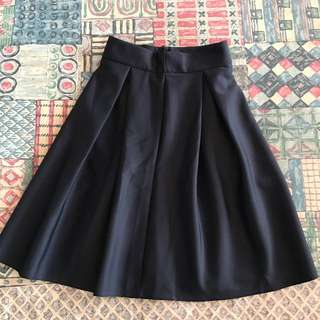 Dark Blue High-waisted A-Line Flare Skirt