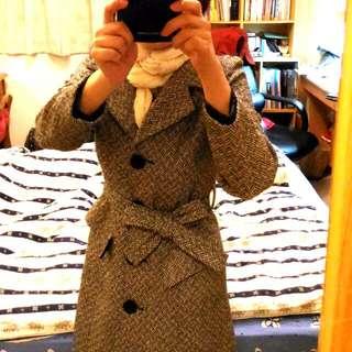 🚚 AFI 香港品牌 專櫃 幾何 羊毛 外套 wool trench coat
