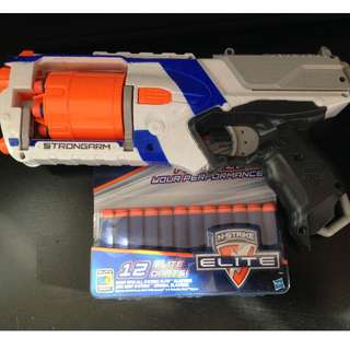 Nerf STRONGARM gun with 12 additional darts