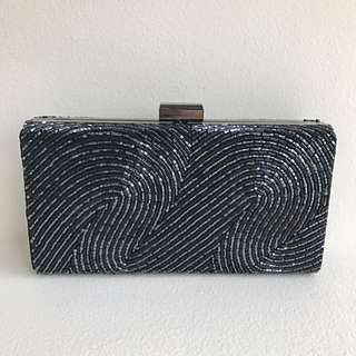 Olga Berg Black Beaded Clutch Bag