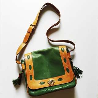 Green And Tan Leather Bag