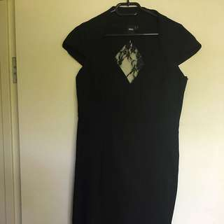 Lace Back Black Stretch Midi Dress