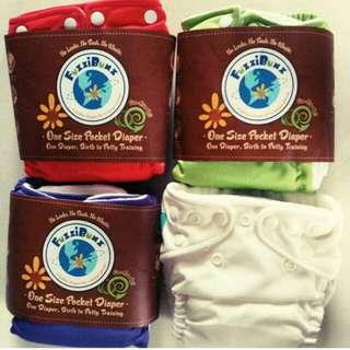 *Fuzzibunz One Size Pocket Eco Friendly Diaper, 1Diaper+1Easy To Replace Elastic+2 Inserts. (Available Colours: Apple Green, Watermelon, Grape) *Charlie Banana Eco Friendly Diaper, Size Small, 1Diaper+1 Insert. (Available Colours: White)