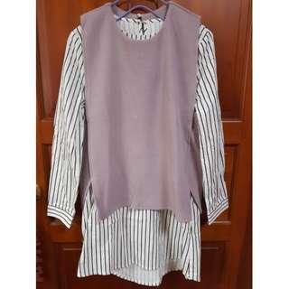 直條上衣+粉色針織背心套裝