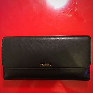 Fossil - Wallet - Authentic - Black - Leather - Lots Of Card Slots