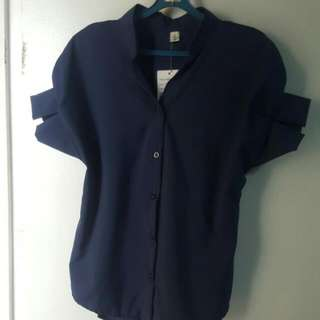 Navy Blue Mandarin Collar Top With Angular Ruffle Sleeve