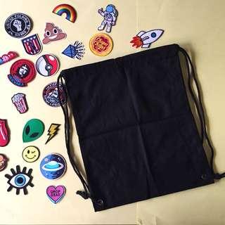 Blank Drawstring Bag Black