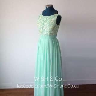 CLEARANCE 50% OFF - Brand New Cream Lace Bodice Mint Floor Length Bridesmaid Dress - Bateau Neckline Sleeveless Long A-Line - Was $199