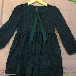 Dark Green Checker Dress