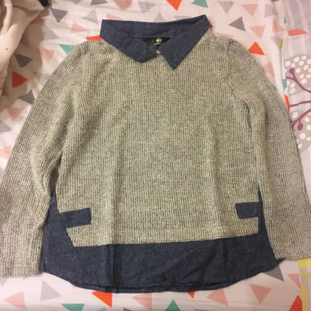 針織假兩件毛衣