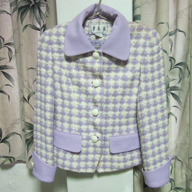 古著粉紫白色格紋厚外套