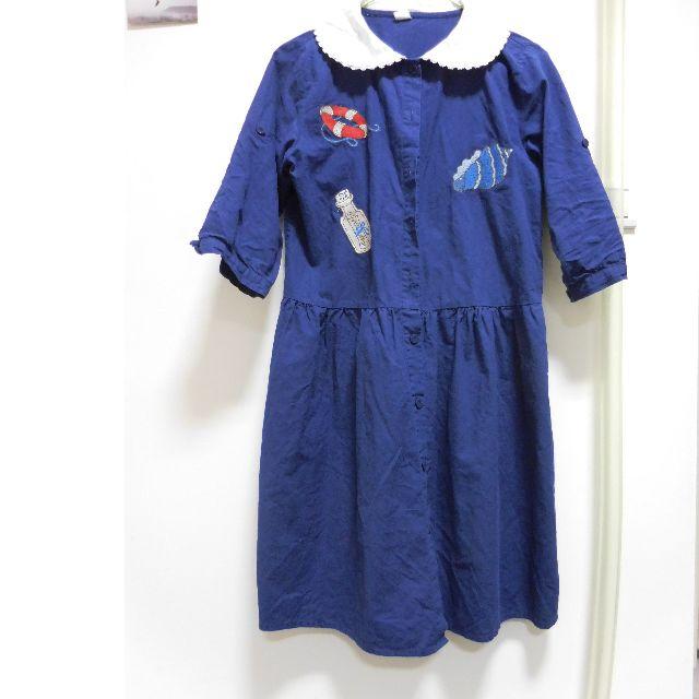 海軍藍刺繡洋裝