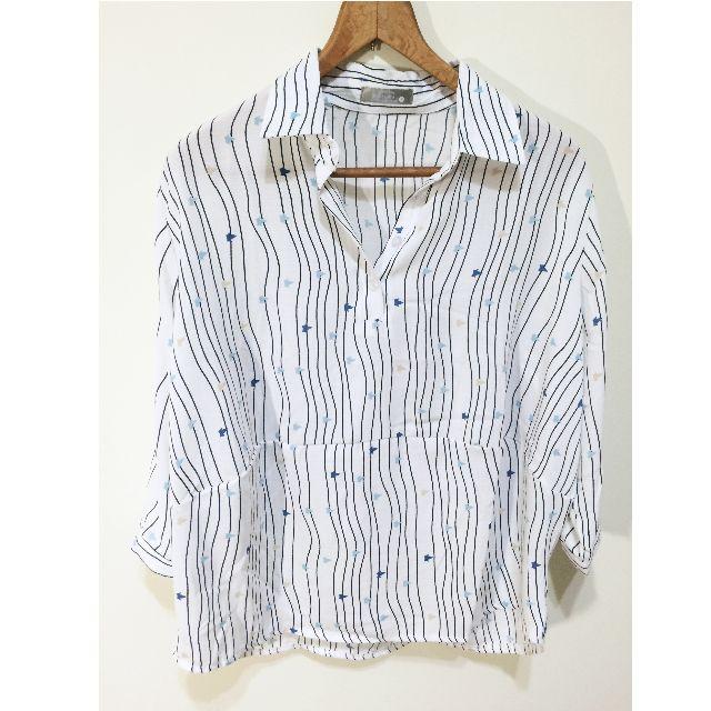 七分袖襯衫/ 繽紛紙鶴與線條