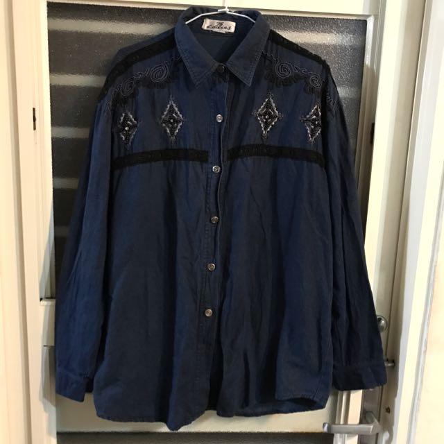古著 日本街頭風 深藍色牛仔襯衫