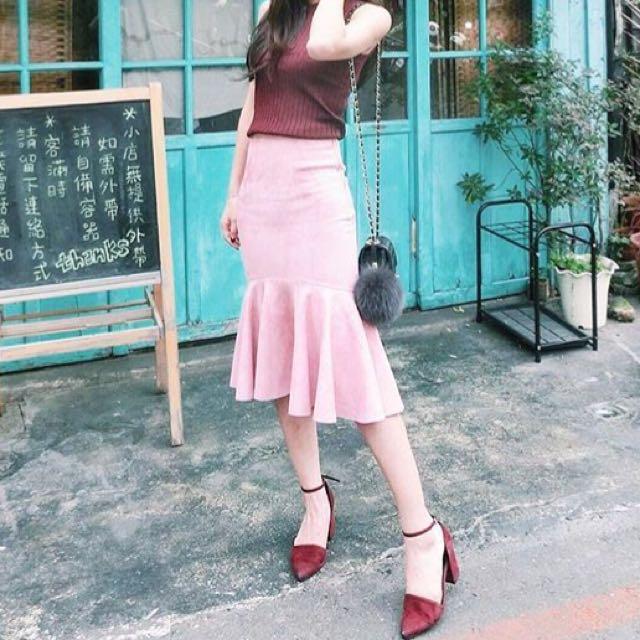 正韓 粉 魚尾裙 麂皮 質感 長裙 裙子 美人魚 粉紅色
