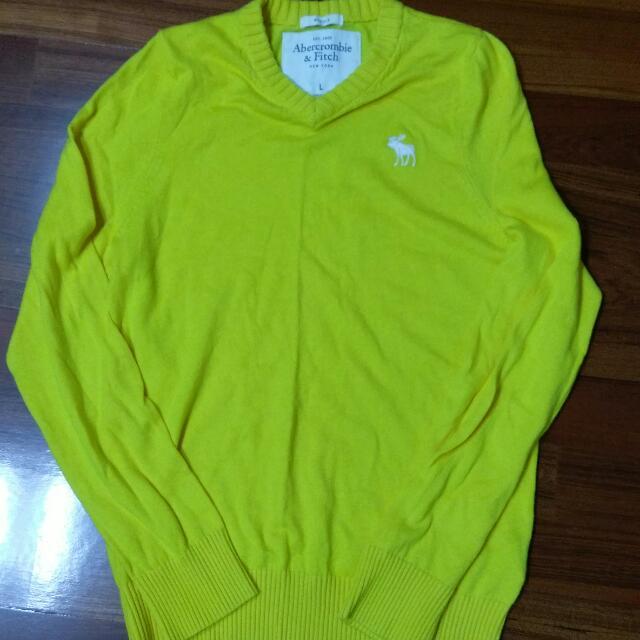 全新正品  A&F Abercrombie&Fitch 黃色毛衣