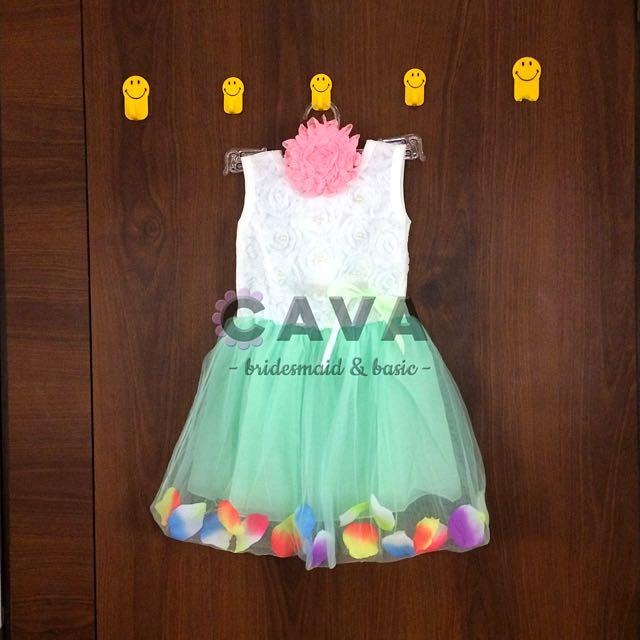 Baby Girl Party Flower Petals Dress Pesta Anak Bayi Perempuan Kelopak Bunga