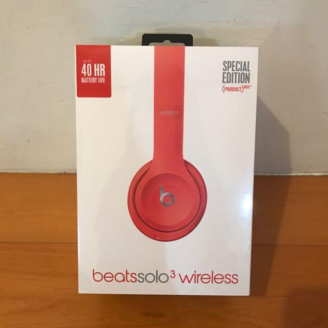 beats solo3 wireless 耳機 紅色