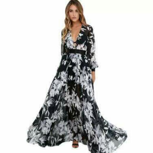 dd226888574 Chiffon Tropical Print Maxi Dress  45 (AE0074)
