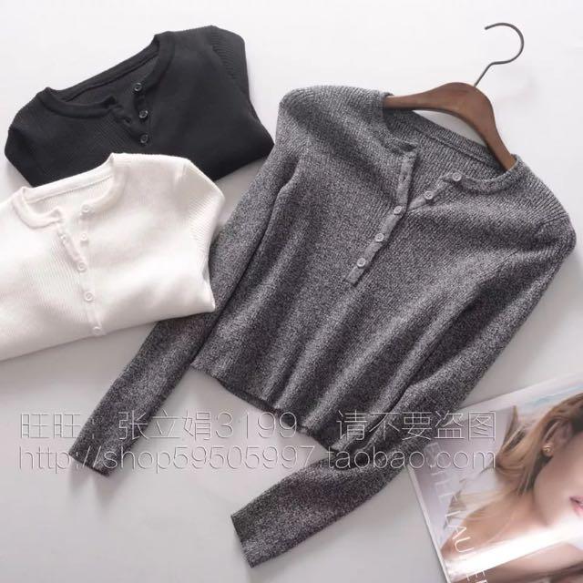 Cropped Grey Long Sleeve Shirt