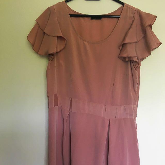 Dusty Pink Mid Thigh Satin Dress