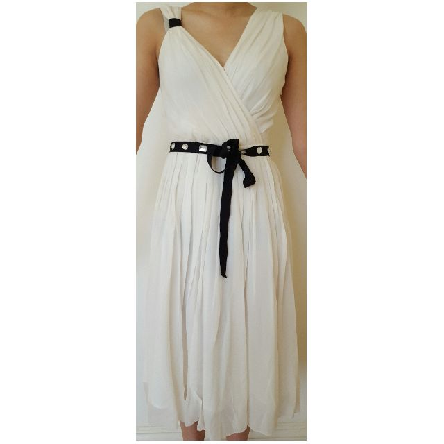 Elegant mid length Cream Off White Silk Dress with black gem belt Size Small