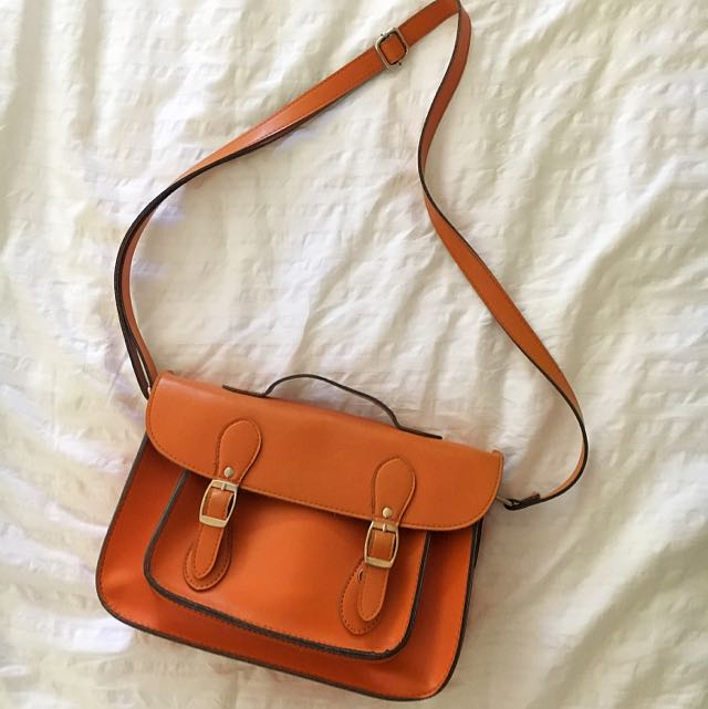 FAUX LEATHER ORANGE SATCHEL