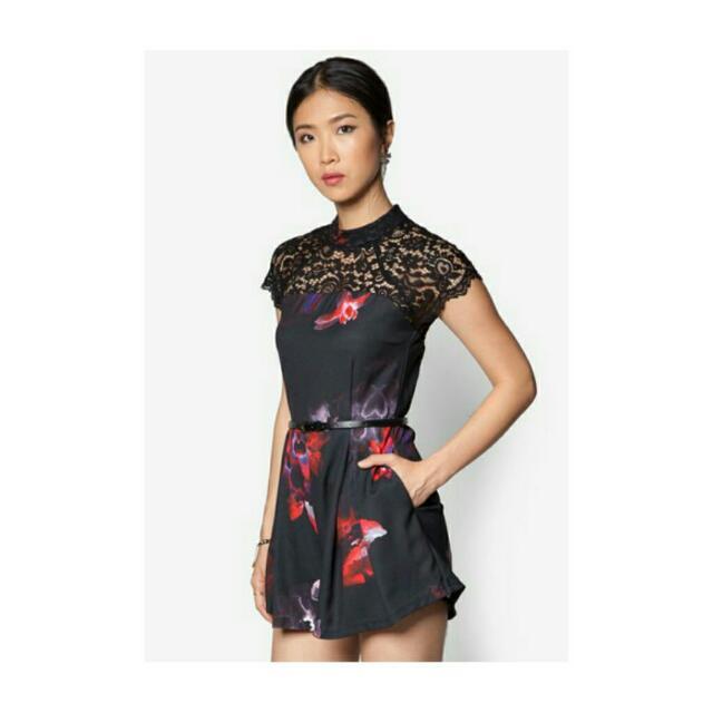 f257407b50e6 Floral Lace Playsuit