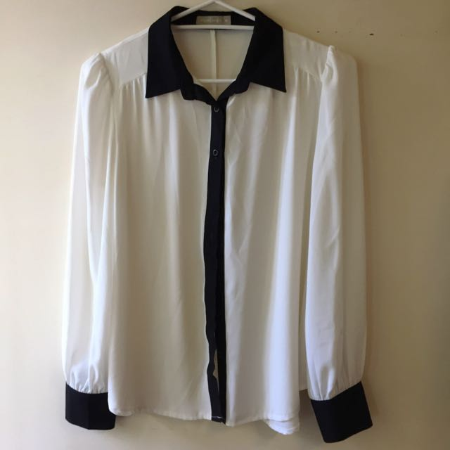 FORCAST | White And Black Blouse: Size 10