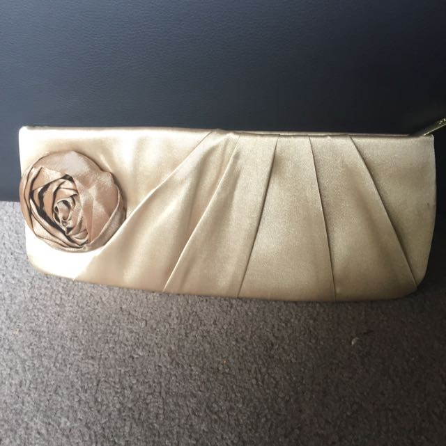 Golden Silky Fabric Clutch