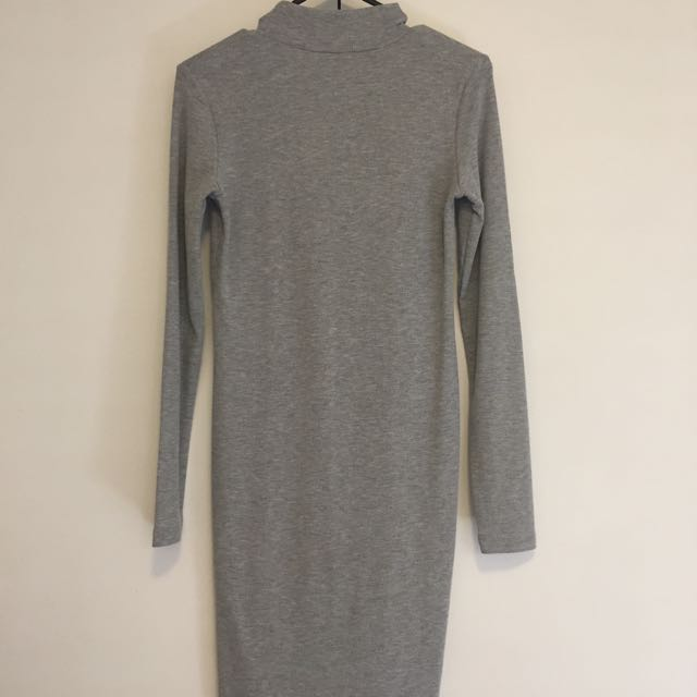 Grey, Long Sleeve, High Neck H&M Dress Size 10