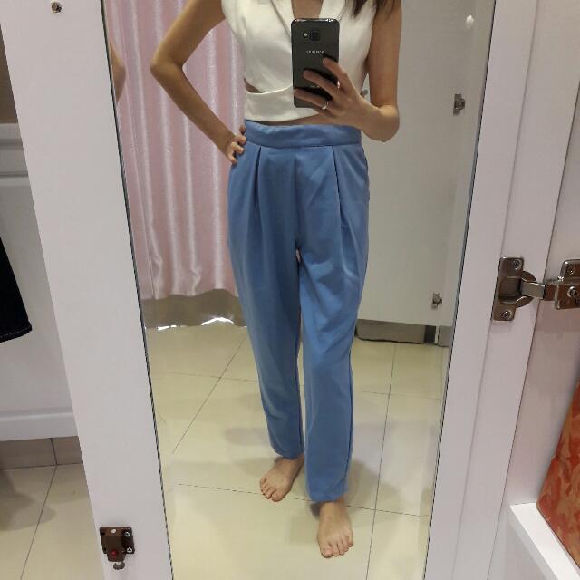 Baby Blue Harem Long Pants / Celana Panjang Model Harem Bahan Kain Bagus