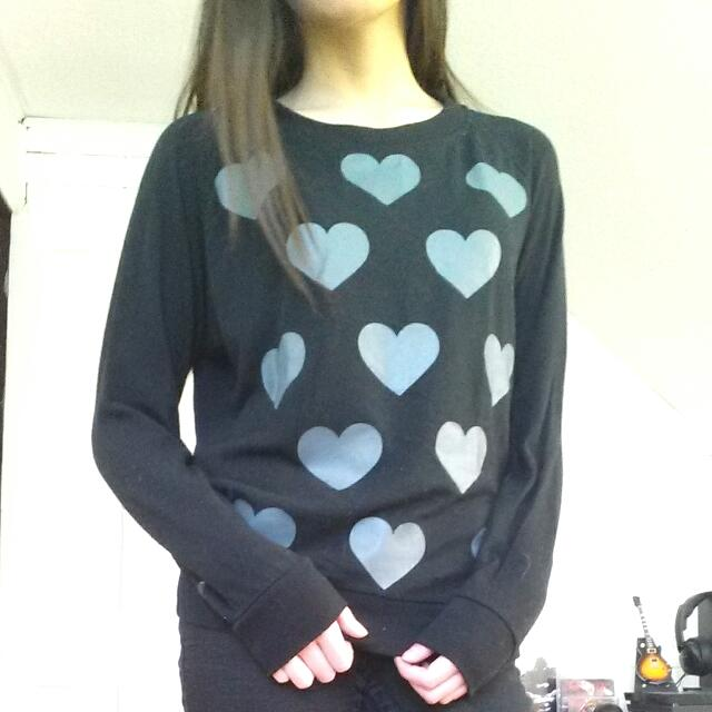 Heart Print Black And Grey Sweater