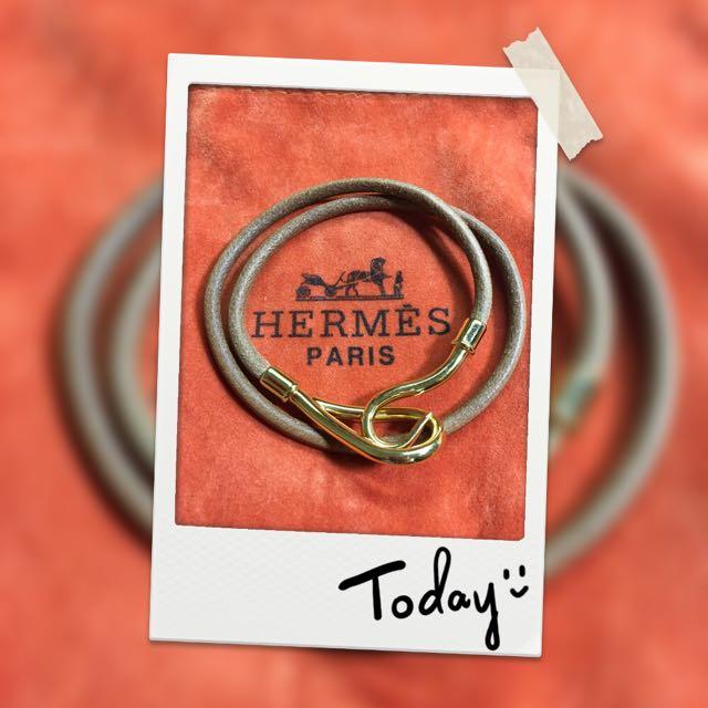 HERMĒS經典皮繩手環(金)