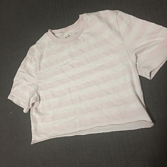 Insight Cropped Stripped Tee Size Small