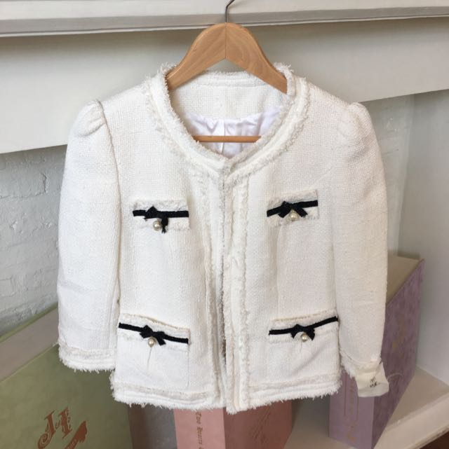 Korean Tweed Chanel White Blazer