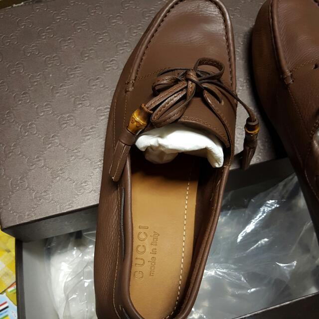 1183197e63 Leather Lace Up Driver Gucci Men's Shoe, Men's Fashion, Footwear on ...