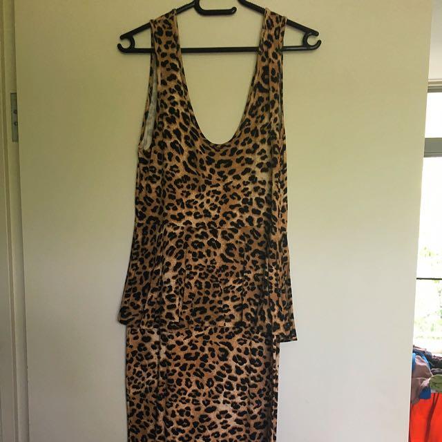 Leopard Print Midi Dress With Peplum